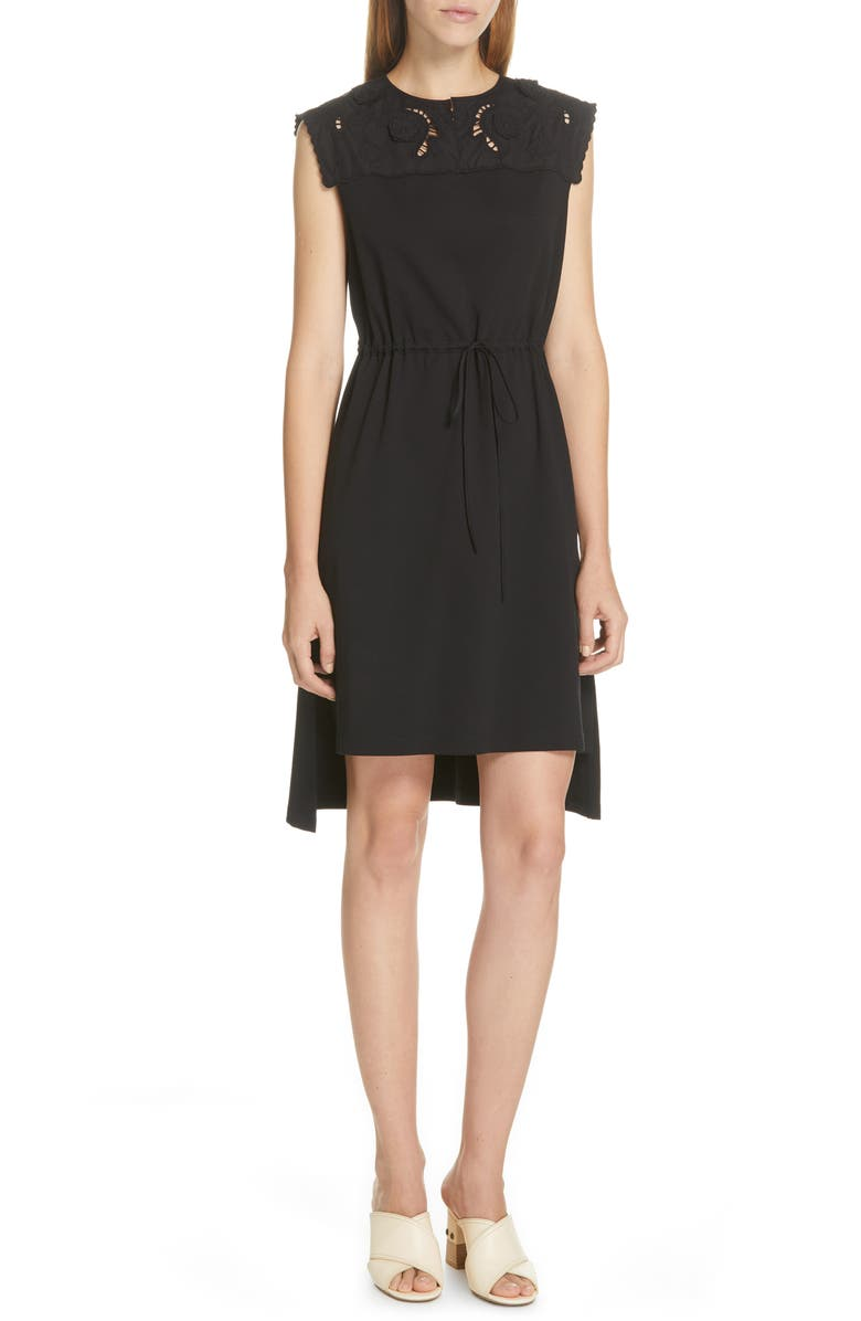 SEE BY CHLOÉ Lace Panel High/Low Dress, Main, color, BLACK