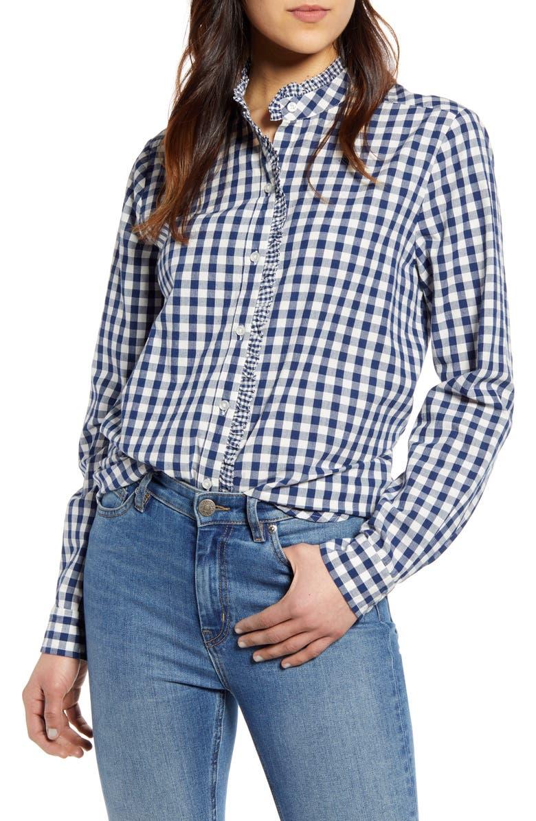 LUCKY BRAND Ruffle Trim Gingham Cotton Shirt, Main, color, NAVY MULTI