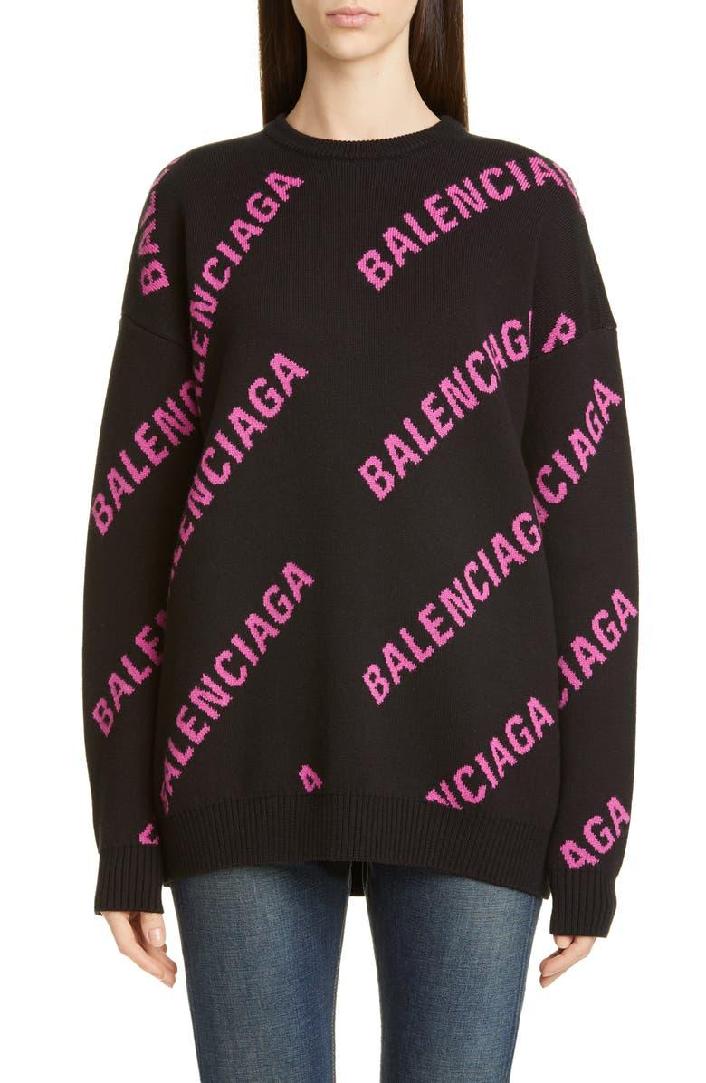BALENCIAGA Oversize Logo Jacquard Sweater, Main, color, 001