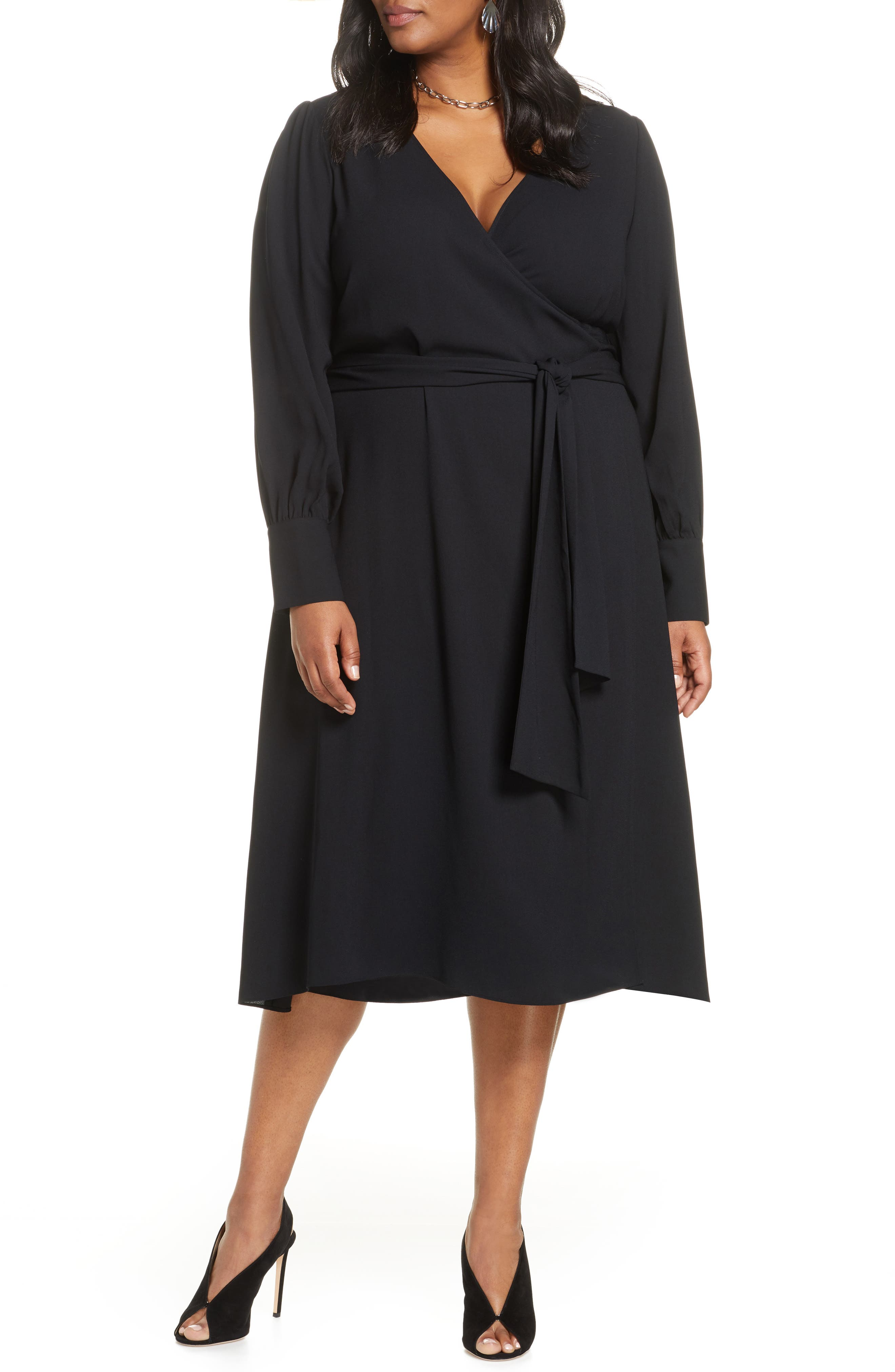 1940s Plus Size Dresses | Swing Dress, Tea Dress Plus Size Womens Halogen Long Sleeve Midi Wrap Dress Size 2X - Black $99.00 AT vintagedancer.com