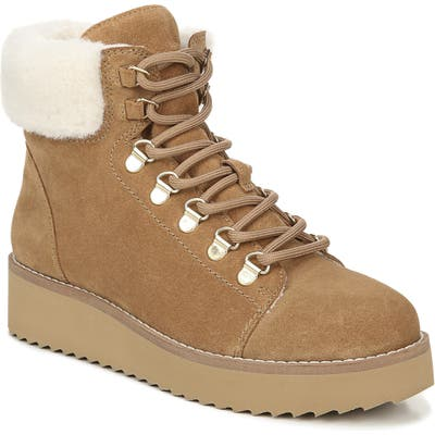 Sam Edelman Franc Hiking Boot With Faux Shearling Trim, Beige