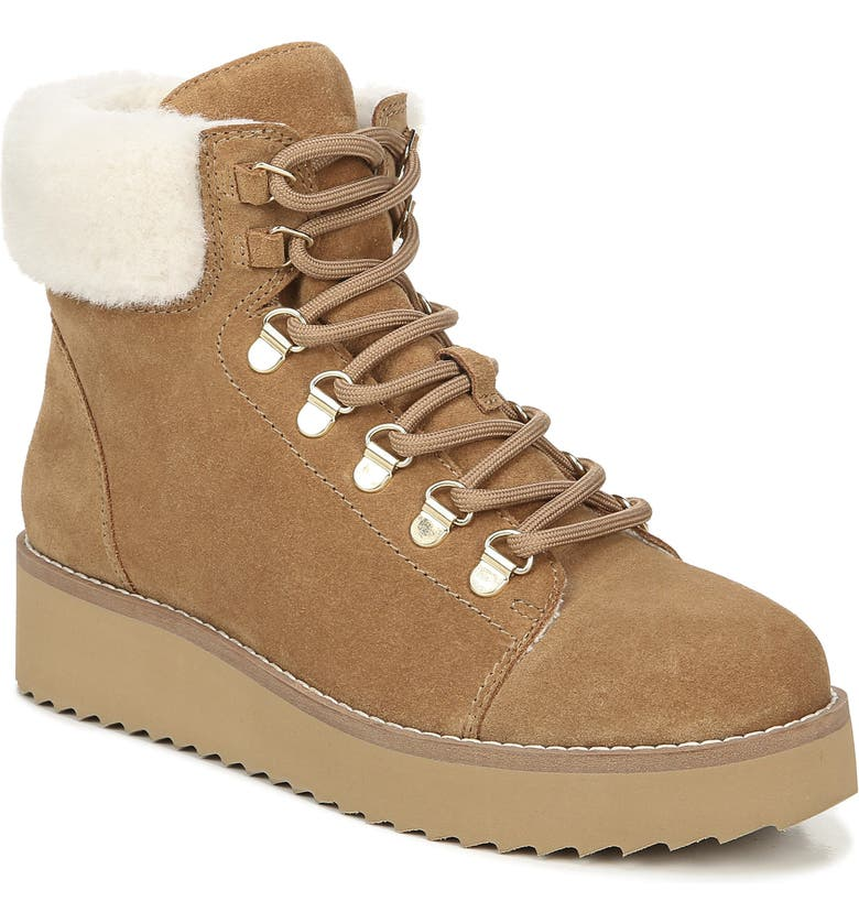 SAM EDELMAN Franc Hiking Boot with Faux Shearling Trim, Main, color, GOLDEN CARAMEL SUEDE