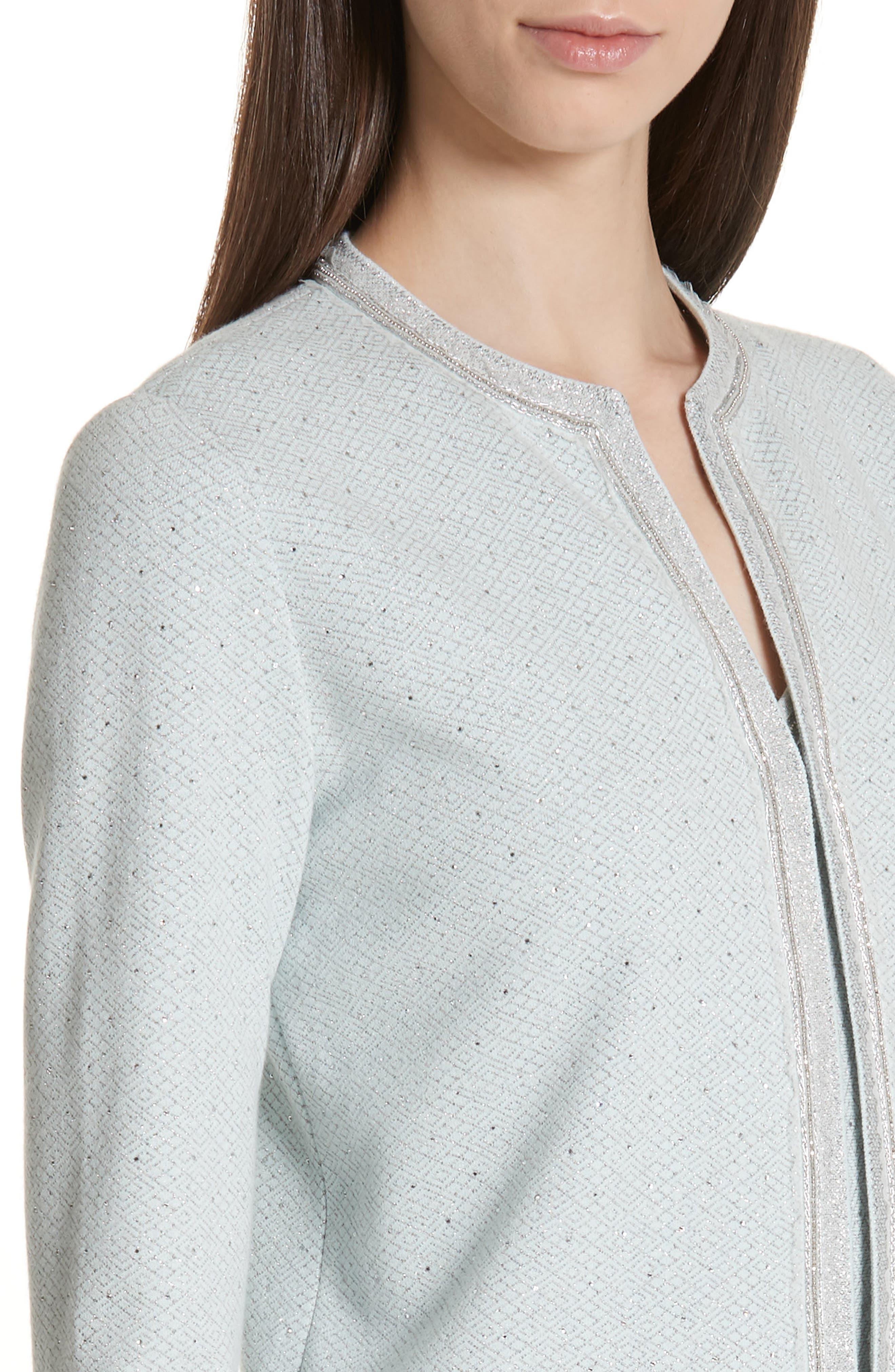 ,                             Anya Knit Jacket,                             Alternate thumbnail 5, color,                             OPAL/ SILVER