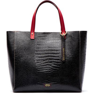 Frances Valentine Margaret Embossed Leather Tote - Black