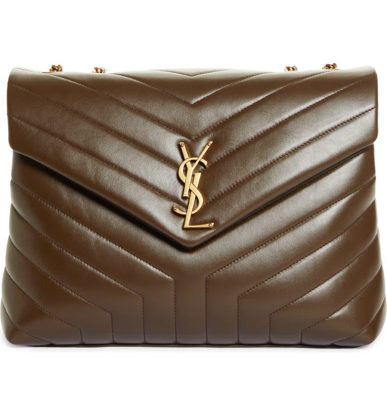 SAINT LAURENT Medium Loulou Matelassé Leather Shoulder Bag, Main, color, SOIL BROWN/ SOIL BWN