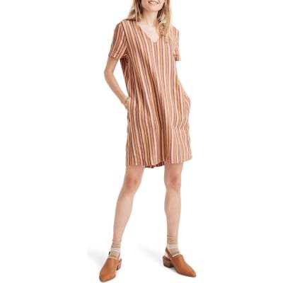 Madewell Button-Back Easy Dress In Rainbow Stripe, Brown