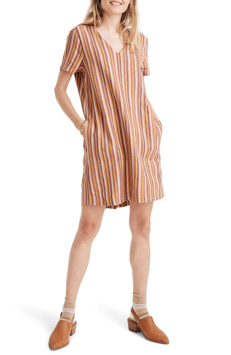 MADEWELL Button-Back Easy Dress in Rainbow Stripe, Main, color, SIERRA STRIPE SWEET DAHLIA