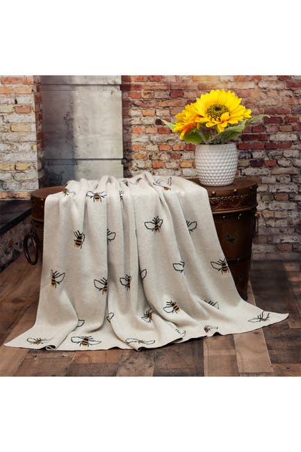 """Image of Parkland Collection Transitional Ivory 50"""" x 60"""" Knitted Throw Blanket"""