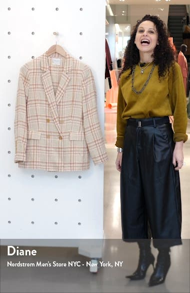 Tartan Plaid Linen & Cotton Blend Blazer, sales video thumbnail
