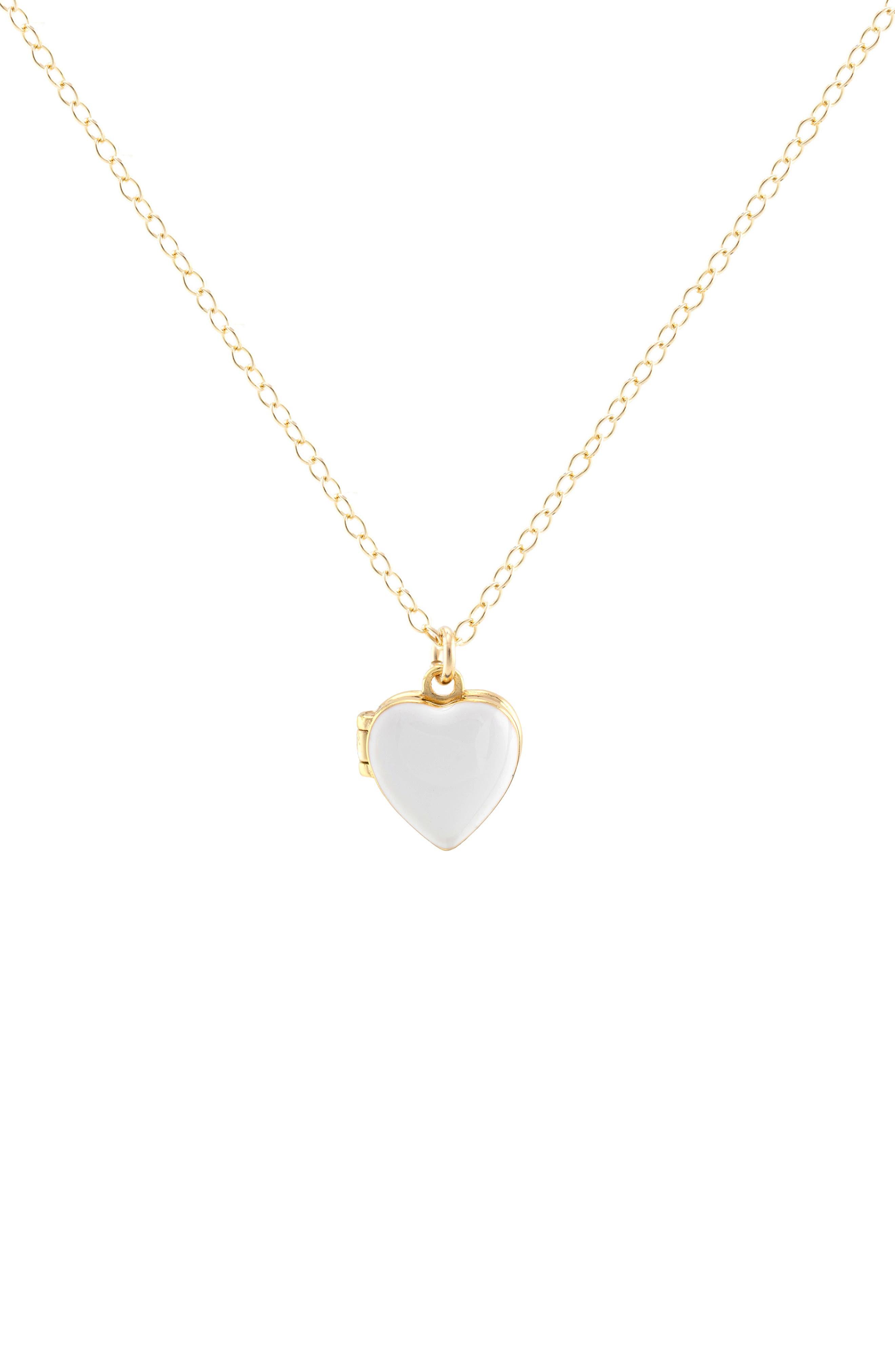 Kris Nations Enamel Heart Locket Necklace in 18K Gold Vermeil /White at Nordstrom