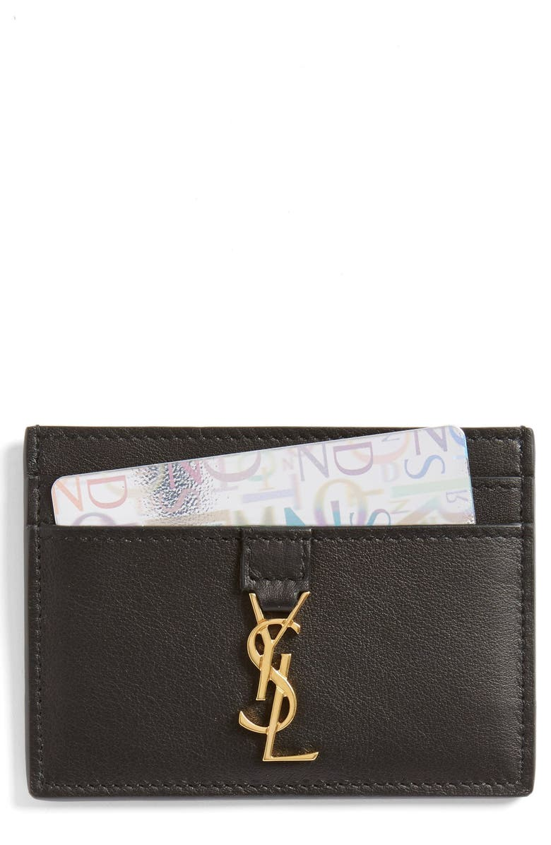 e0070bad26a Yves Saint Laurent Leather Card Case, Main, color, 001
