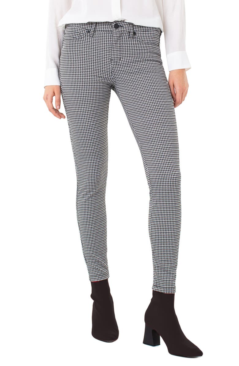 LIVERPOOL Houndstooth Check Super Skinny Knit Pants, Main, color, WHISPER WHITE/ BLACK
