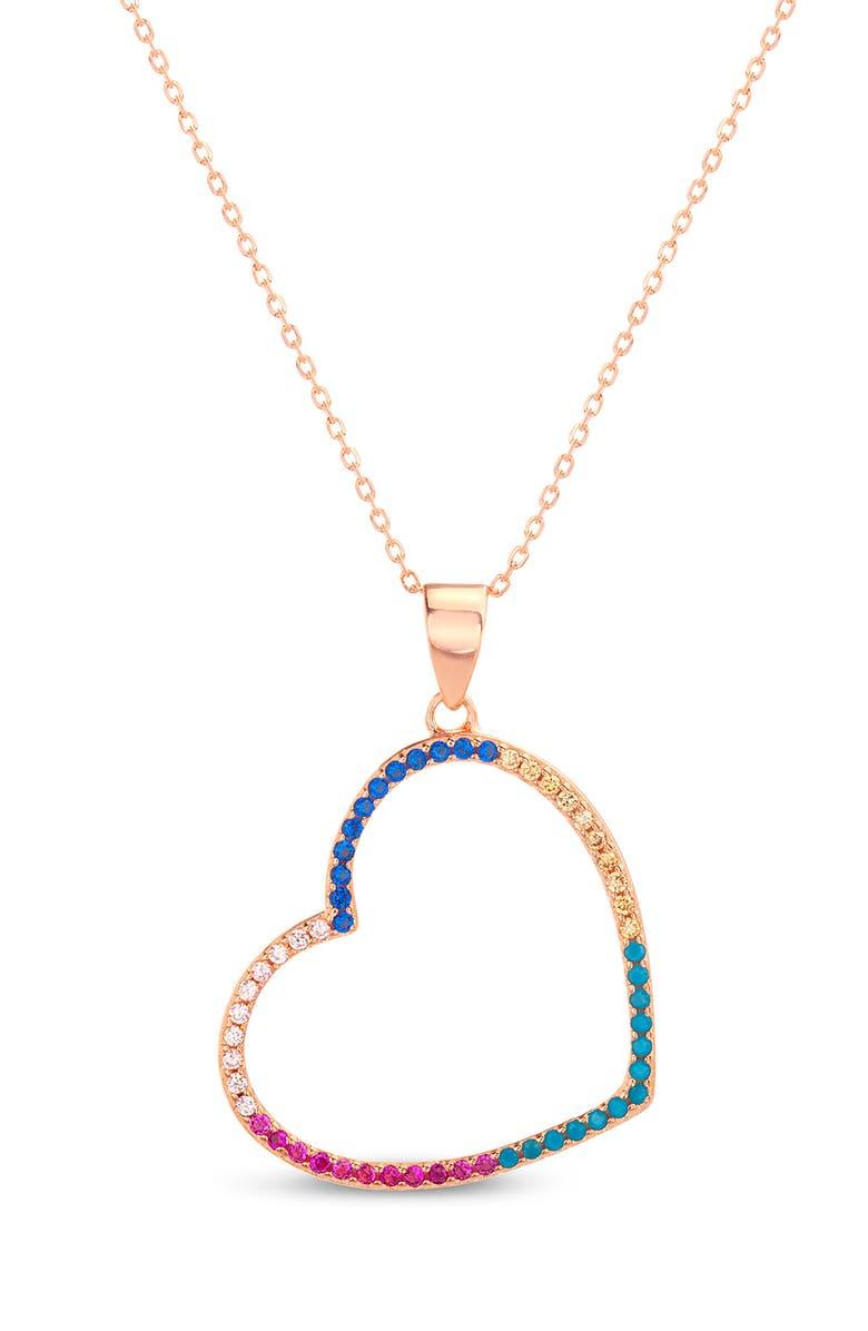 LESA MICHELE Multicolor Cubic Zirconia Open Heart Pendant Necklace, Main, color, GOLD