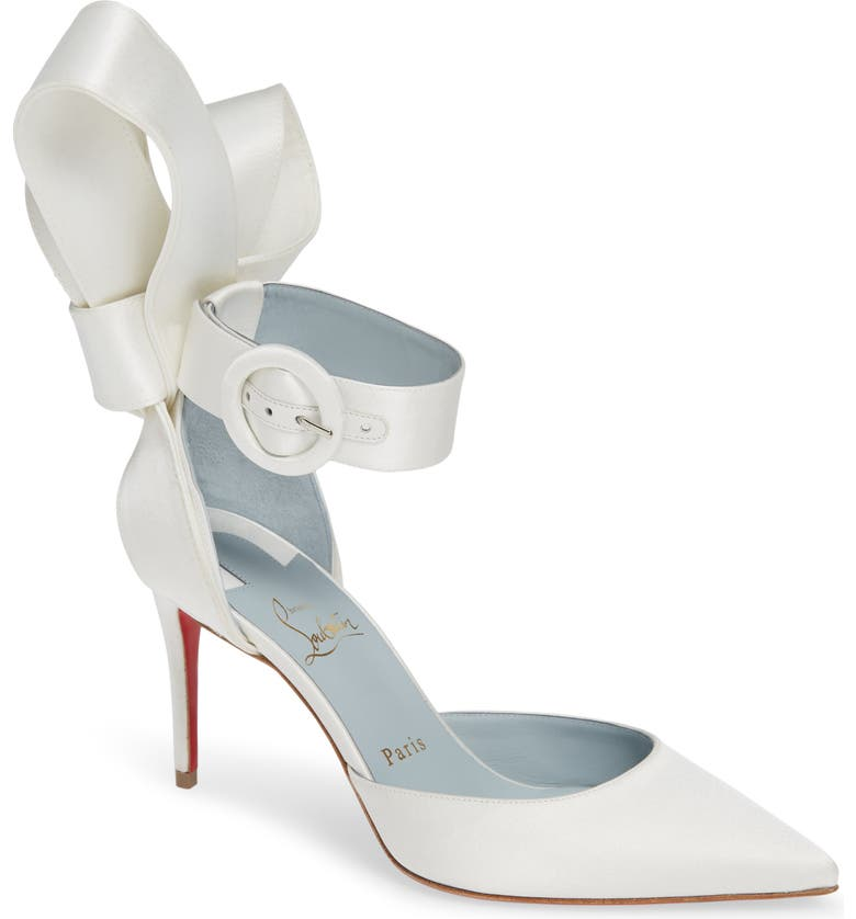 CHRISTIAN LOUBOUTIN Raissa Bow Ankle Strap Pump, Main, color, OFF WHITE