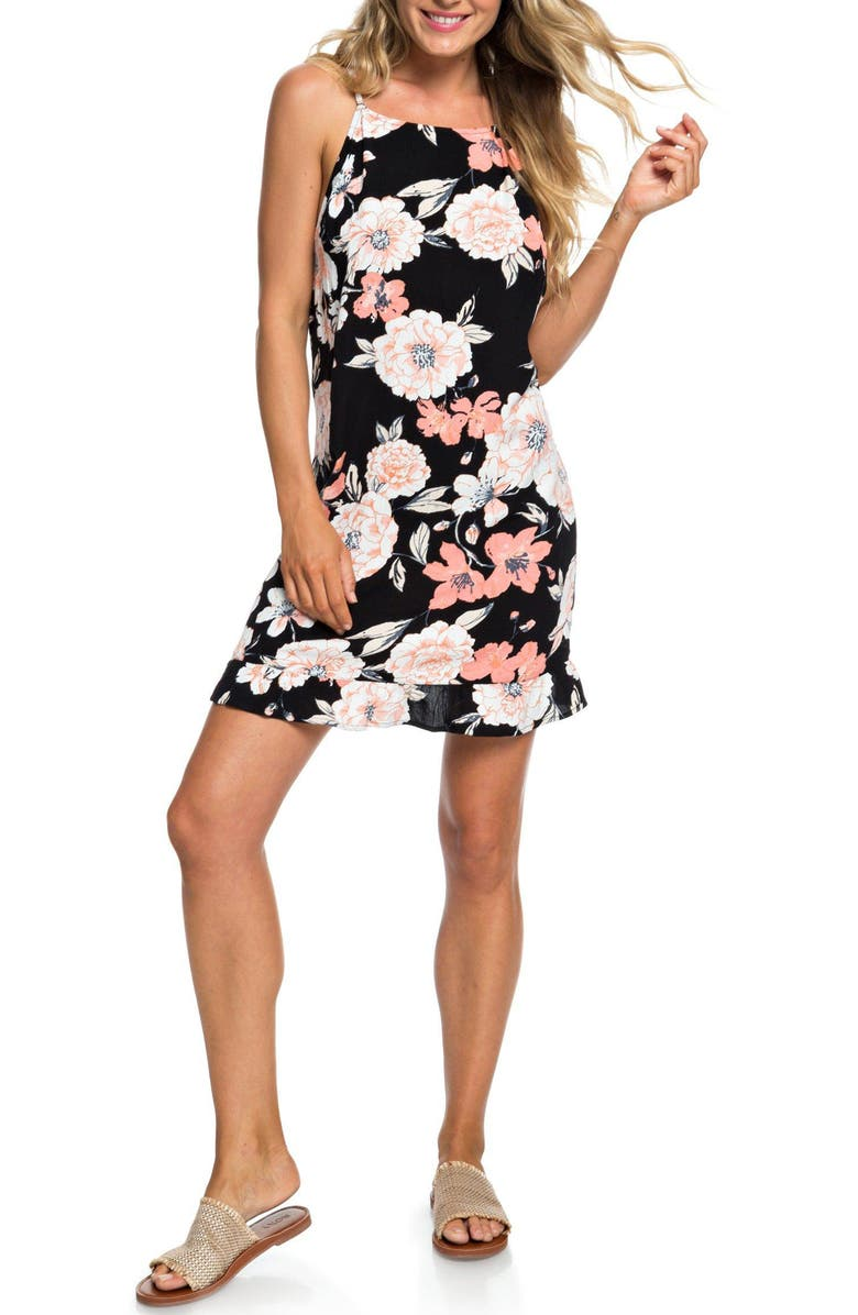 ROXY Golden Skin Floral Print Minidress, Main, color, 001