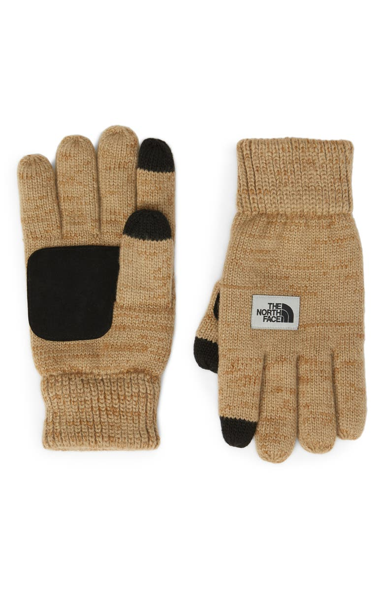 THE NORTH FACE Etip Salty Dog Knit Tech Gloves, Main, color, DUNE BEIGE/ CARGO KHAKI