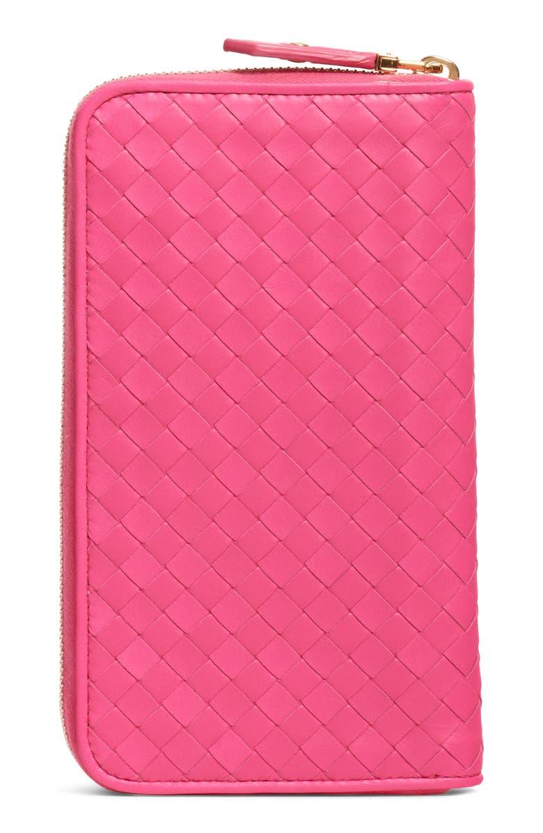 BOTTEGA VENETA Leather Zip Around Wallet, Main, color, NEON/ NEON-GOLD