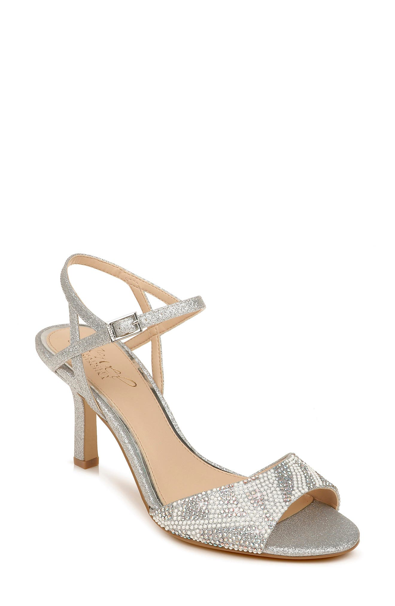 Shimmery crystals and tiny, imitation-pearl beads at the vamp spotlight this glittering quarter-strap sandal set on a just-right heel. Style Name: Jewel Badgley Mischka Fawna Embellished Sandal (Women). Style Number: 6068842. Available in stores.