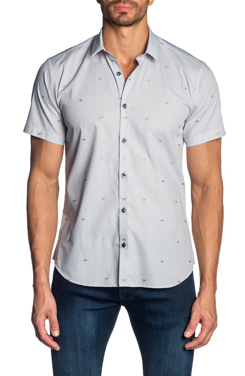 JARED LANG Trim Fit Dino Print Cotton Sport Shirt, Main, color, 099