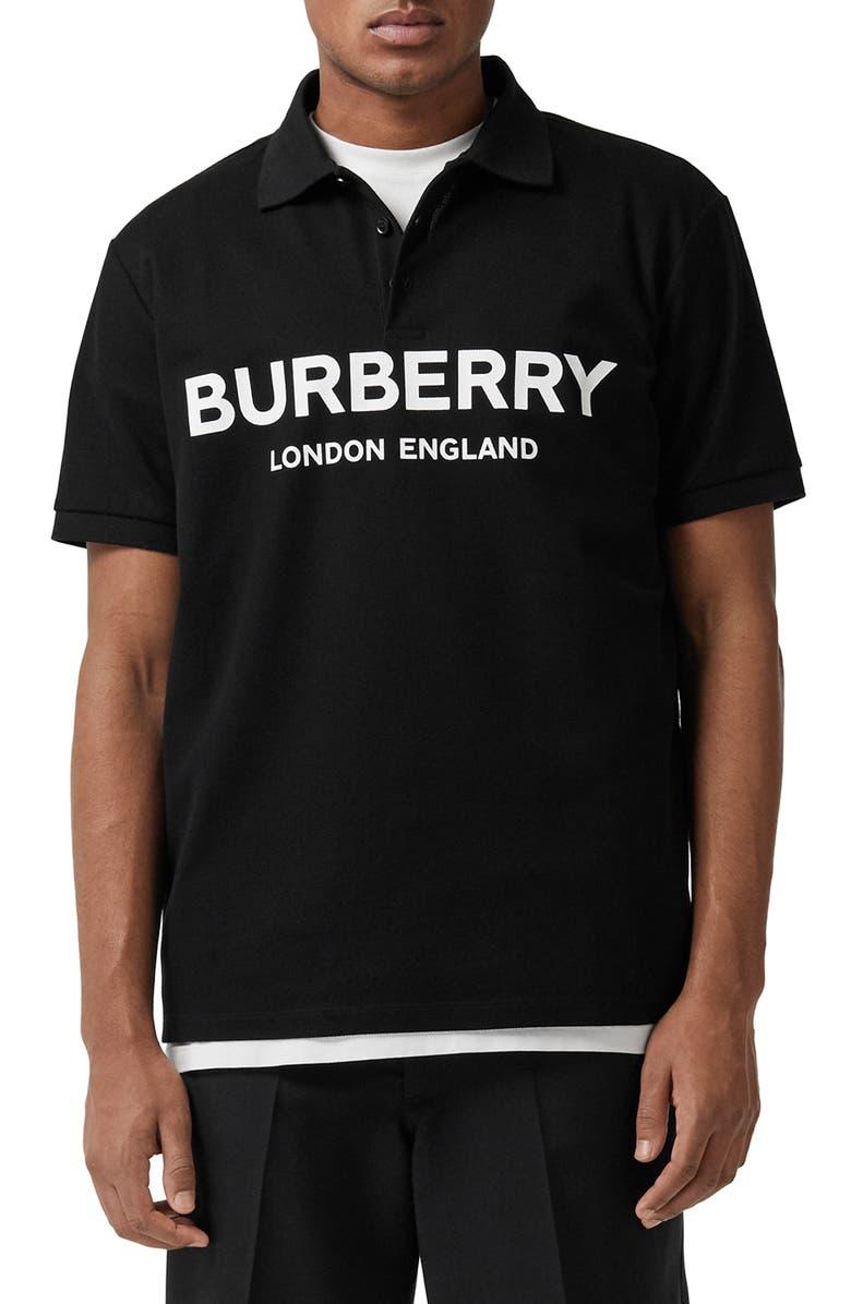 BURBERRY Luckland Logo Print Piqué Polo, Main, color, BLACK