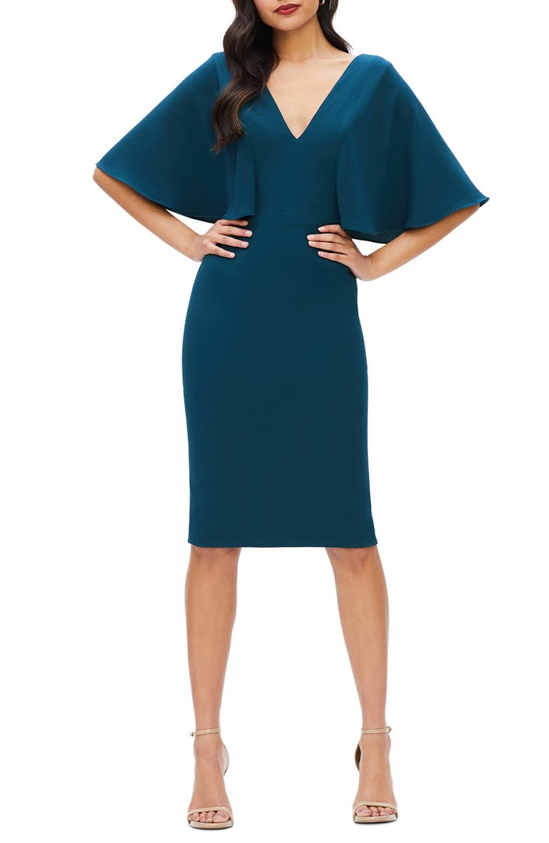 DRESS THE POPULATION Louisa Butterfly Sleeve Cocktail Dress, Main, color, PEACOCK BLUE