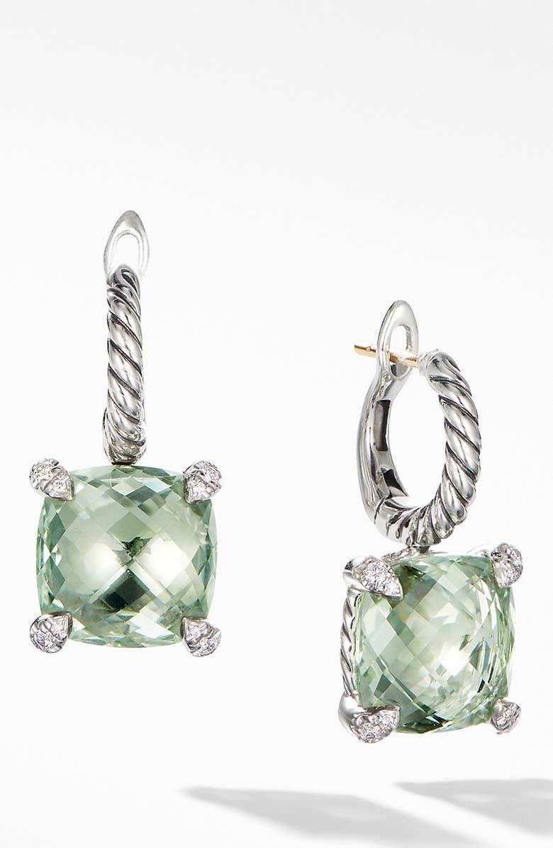 DAVID YURMAN Chatelaine Prasiolite Drop Earrings with Diamonds, Main, color, NEW PRASIOLITE