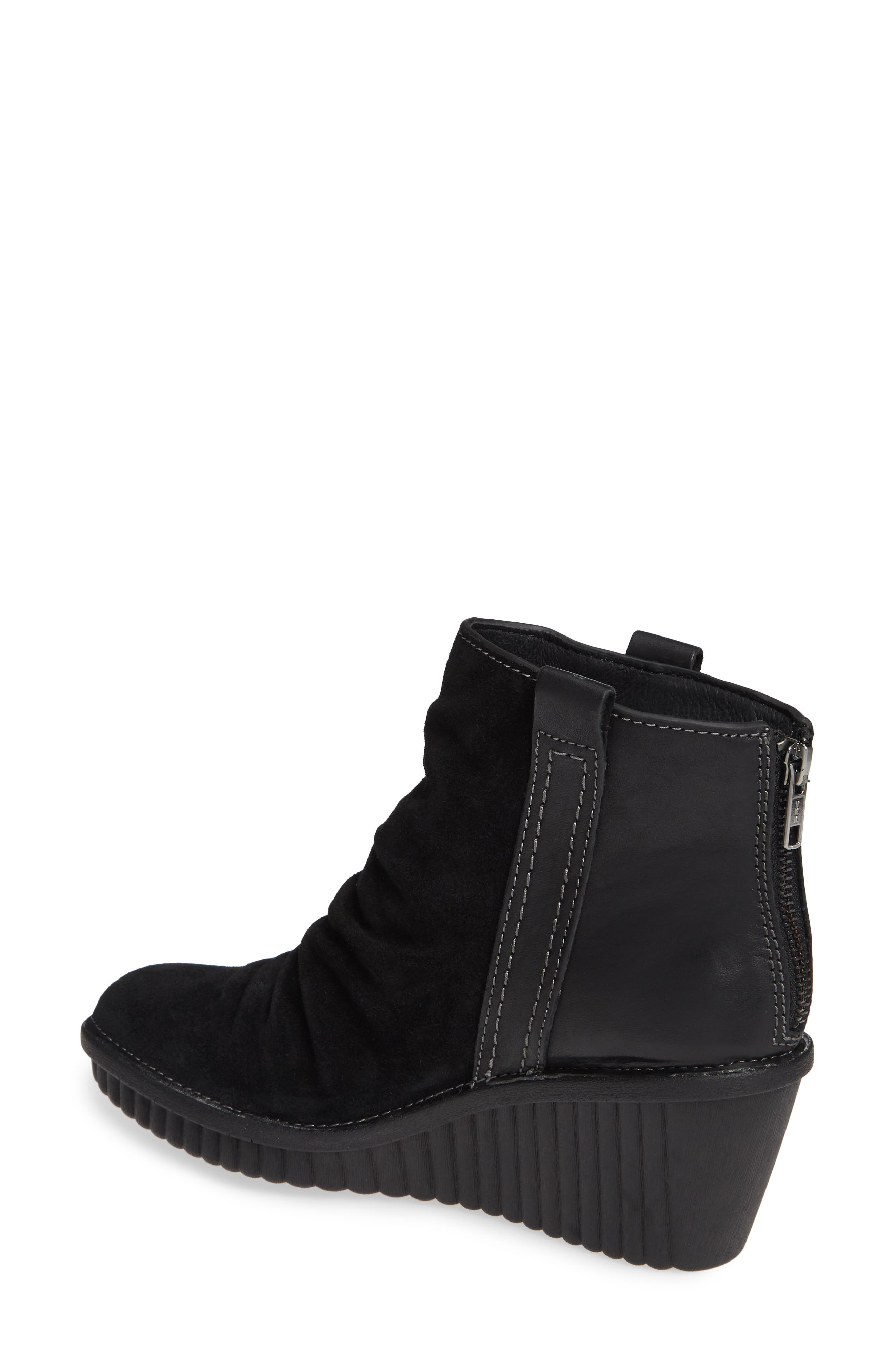 ,                             Destiny Wedge Bootie,                             Alternate thumbnail 2, color,                             BLACK LEATHER/ SUEDE