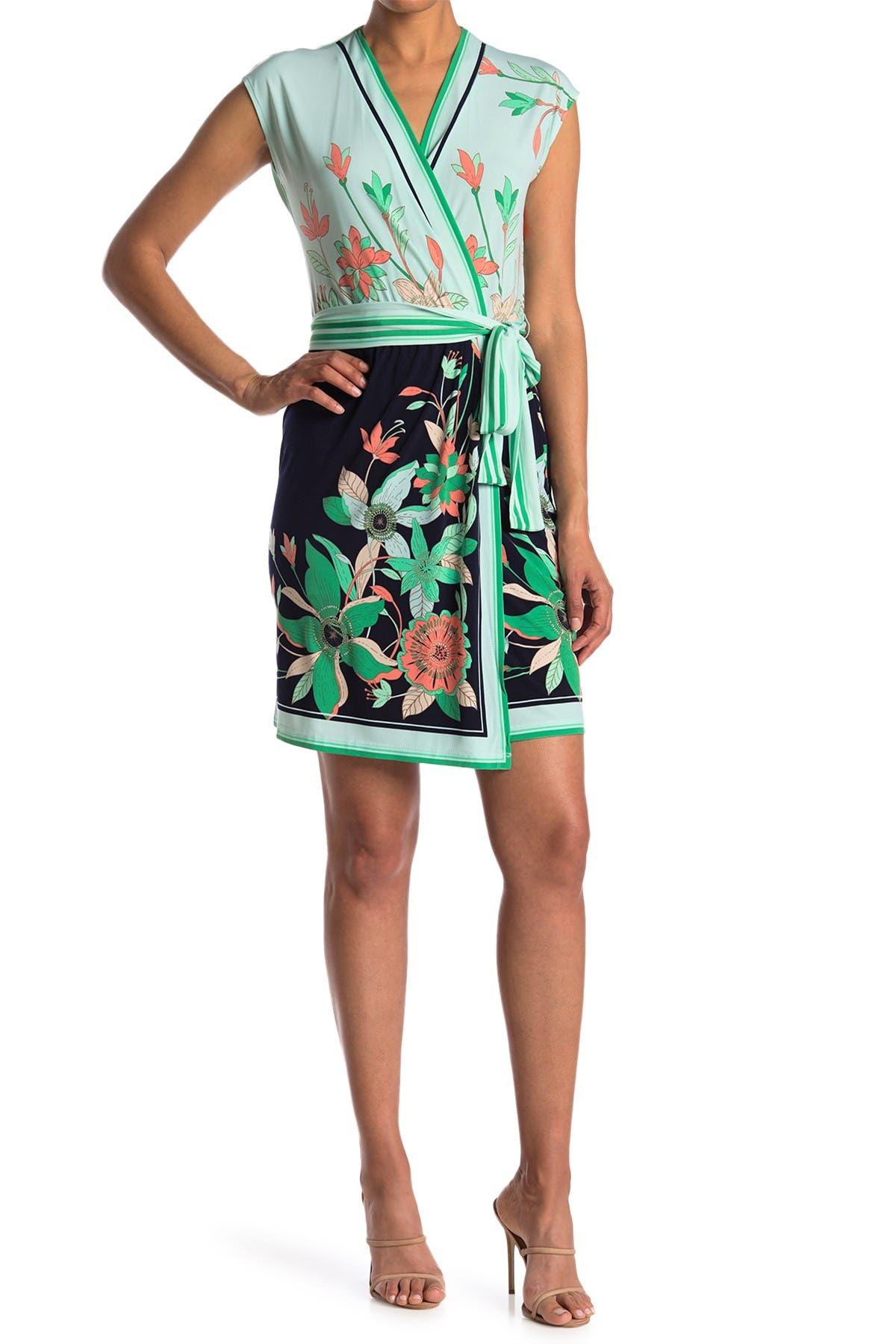 Image of London Times Jersey Twin Print Wrap Dress