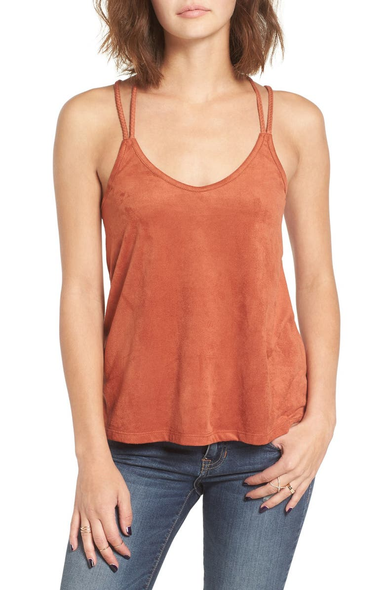 SUN & SHADOW Strappy Faux Suede Tank, Main, color, RUST KHAYA