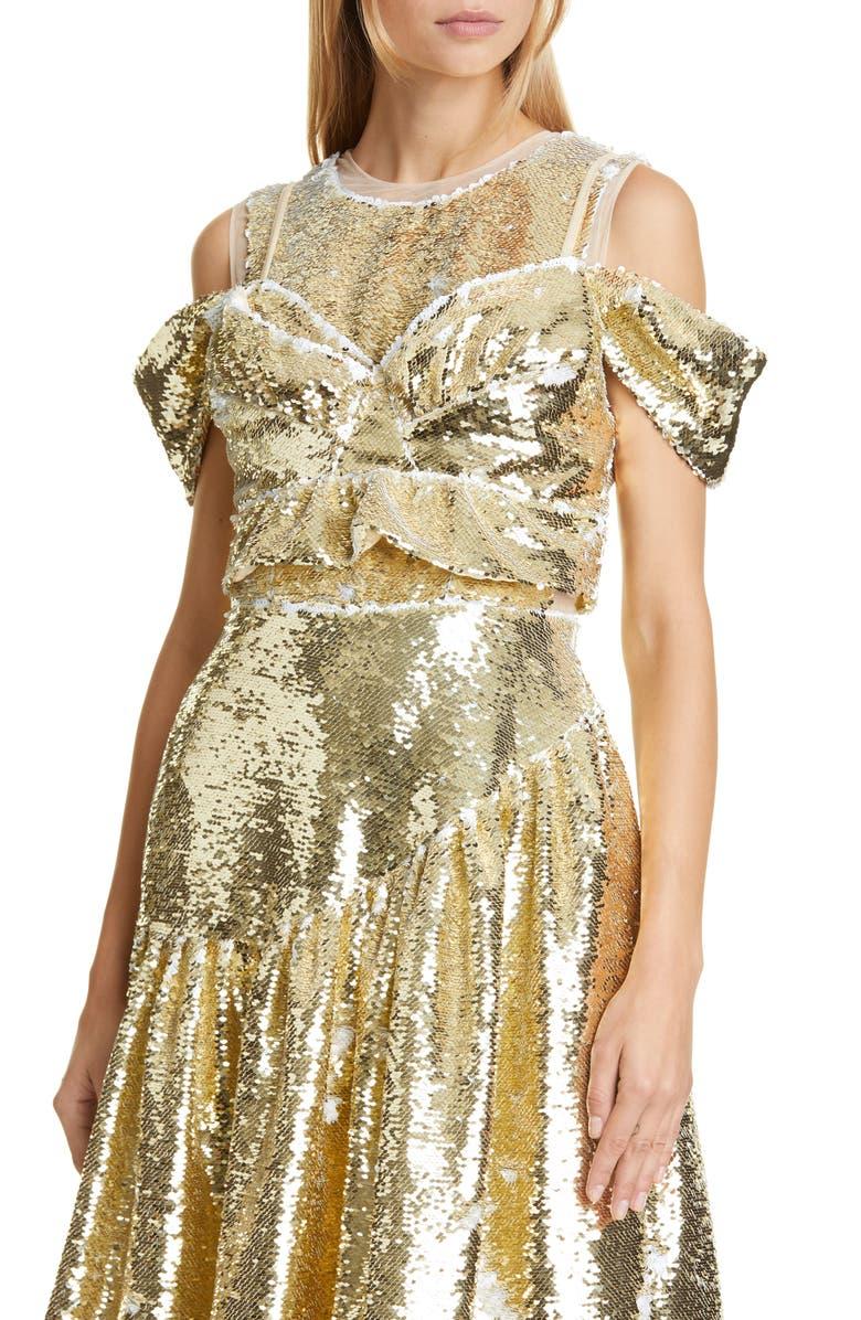 SIMONE ROCHA Beaded Sequin Woven Bustier Top, Main, color, GOLD