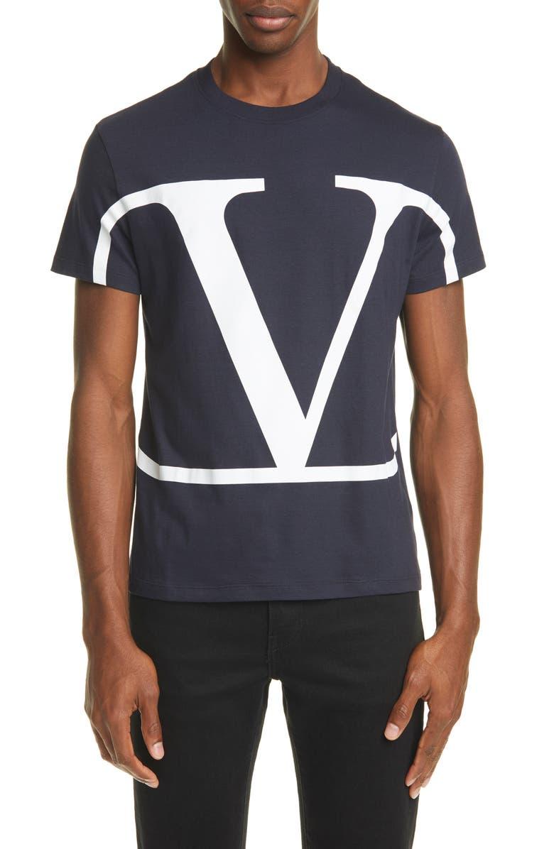 VALENTINO Logo Crewneck T-Shirt, Main, color, NAVY/ WHITE