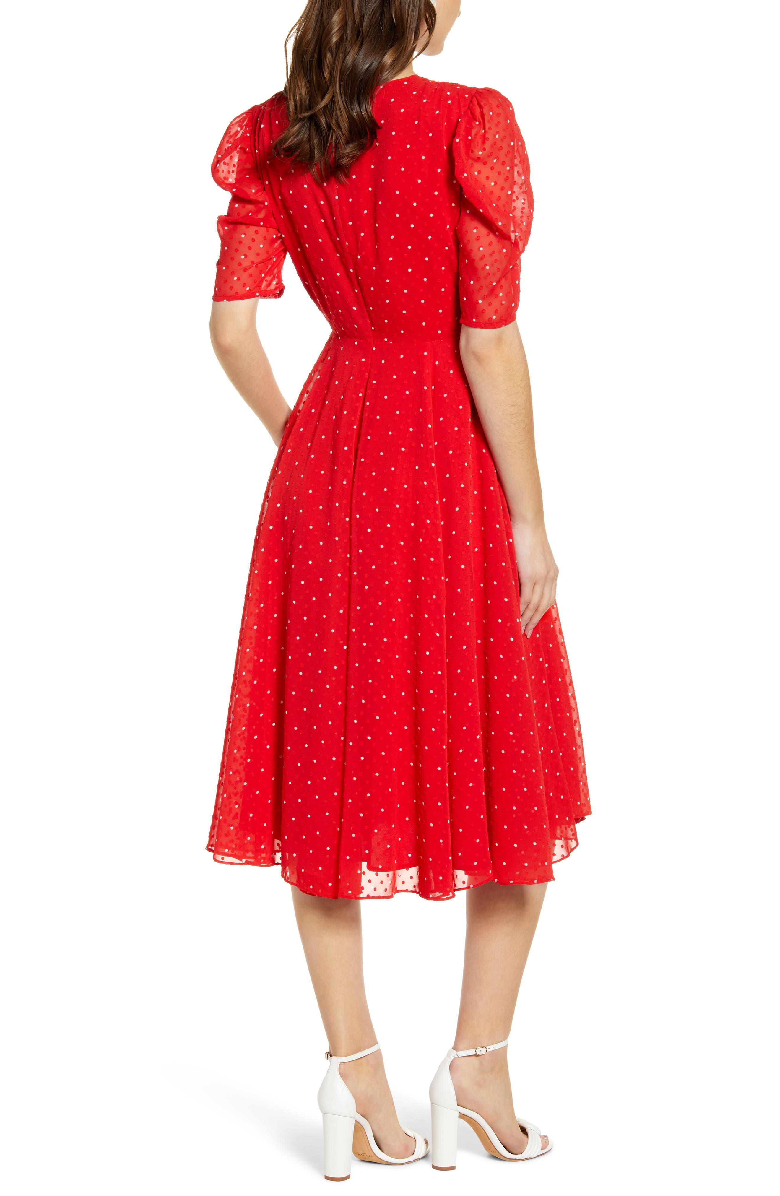 ,                             Chiffon A-Line Dress,                             Alternate thumbnail 2, color,                             RED CHINOISE DOT