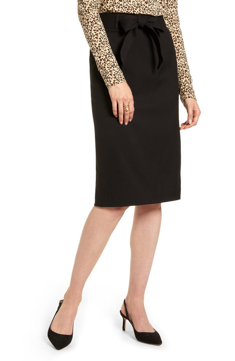 1901 Long Pencil Skirt, Main, color, BLACK