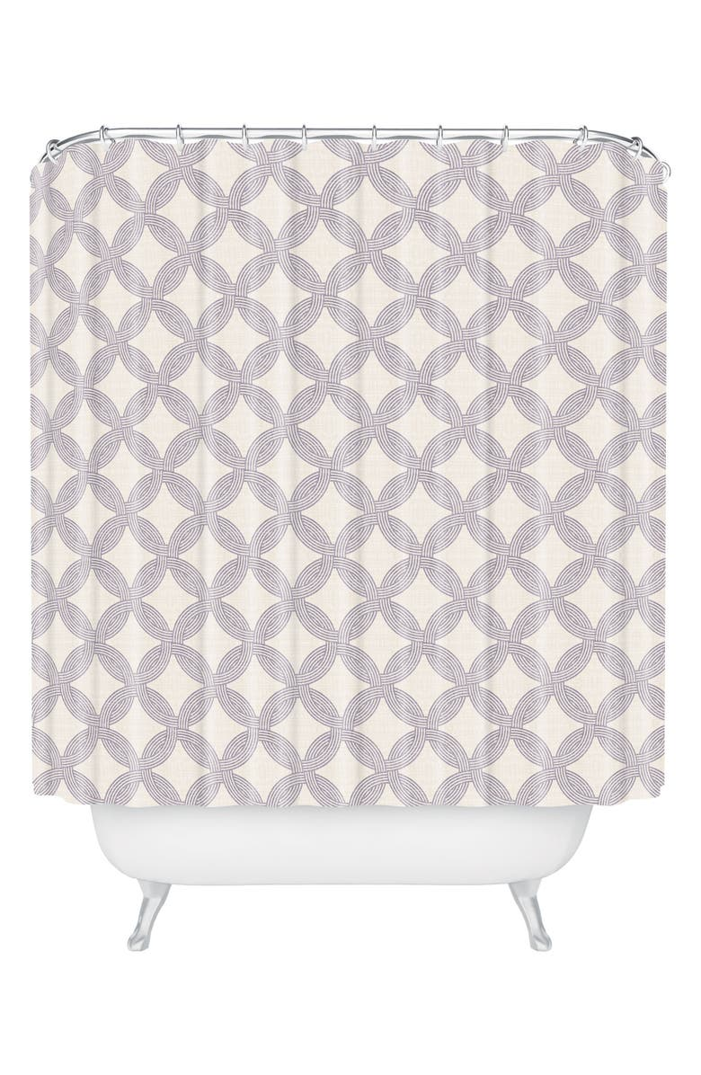 DENY DESIGNS Jingla Shower Curtain, Main, color, BROWN/ WHITE