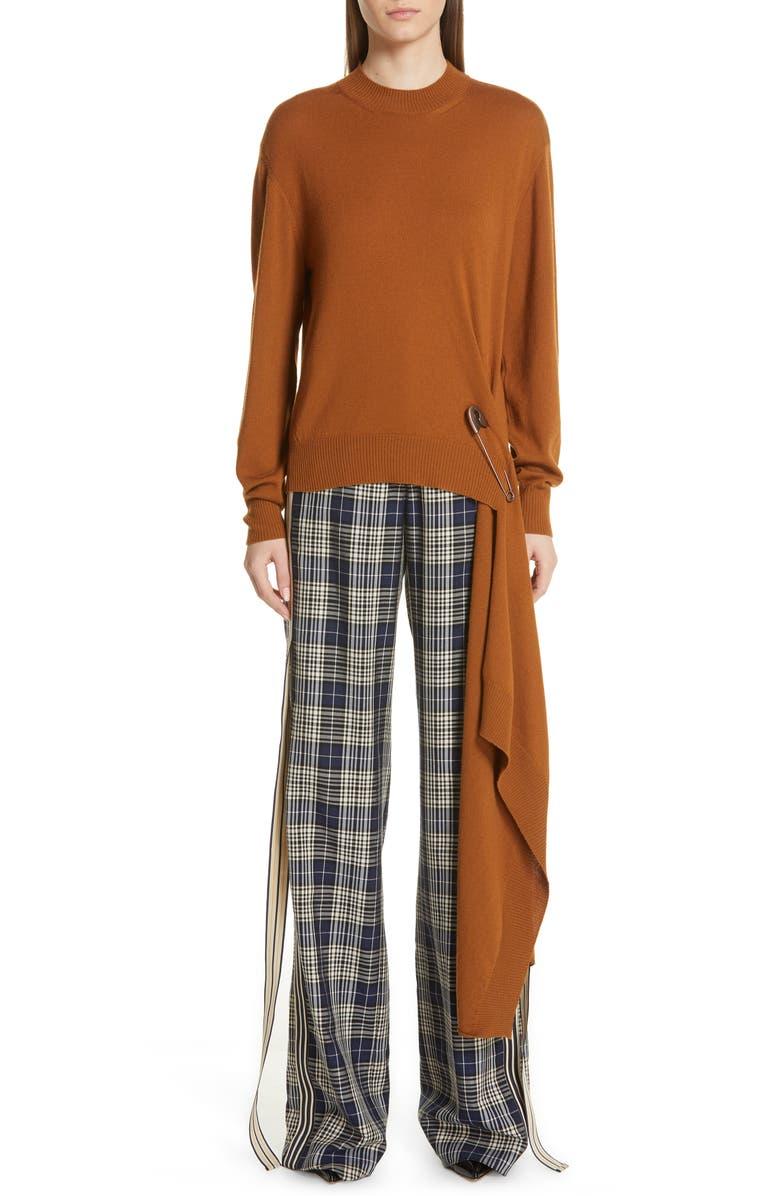 MONSE Drape Pin Hem Wool Sweater, Main, color, COGNAC