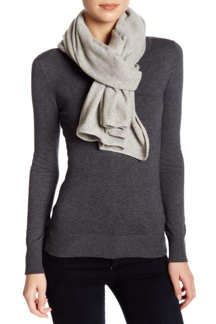 Image of Portolano Light Grey Cashmere Knit Wrap Scarf