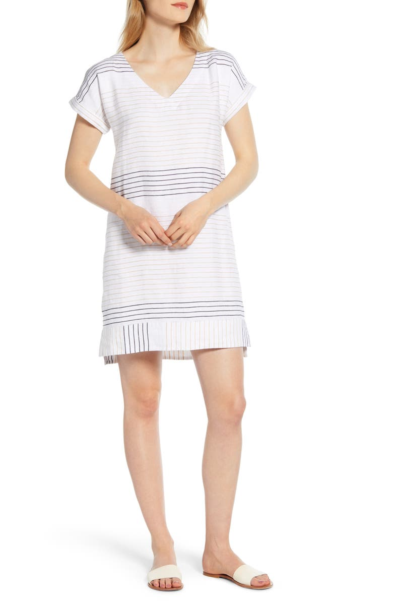 VINEYARD VINES Metallic Stripe Shift Dress, Main, color, 100