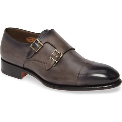 Santoni Ira Double Monk Strap Shoe - Grey