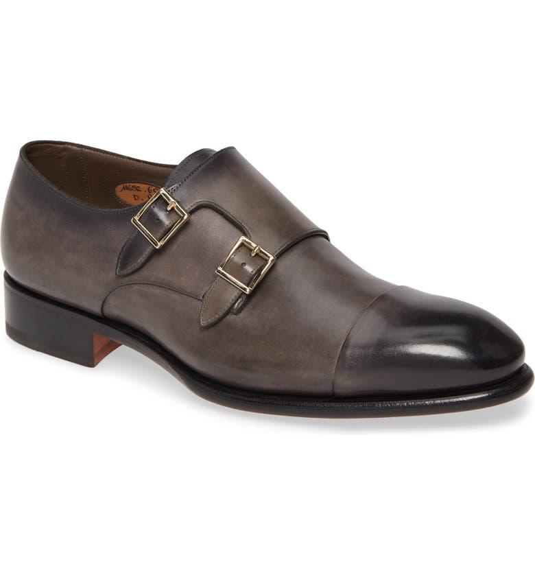SANTONI IRA Double Monk Strap Shoe, Main, color, GREY