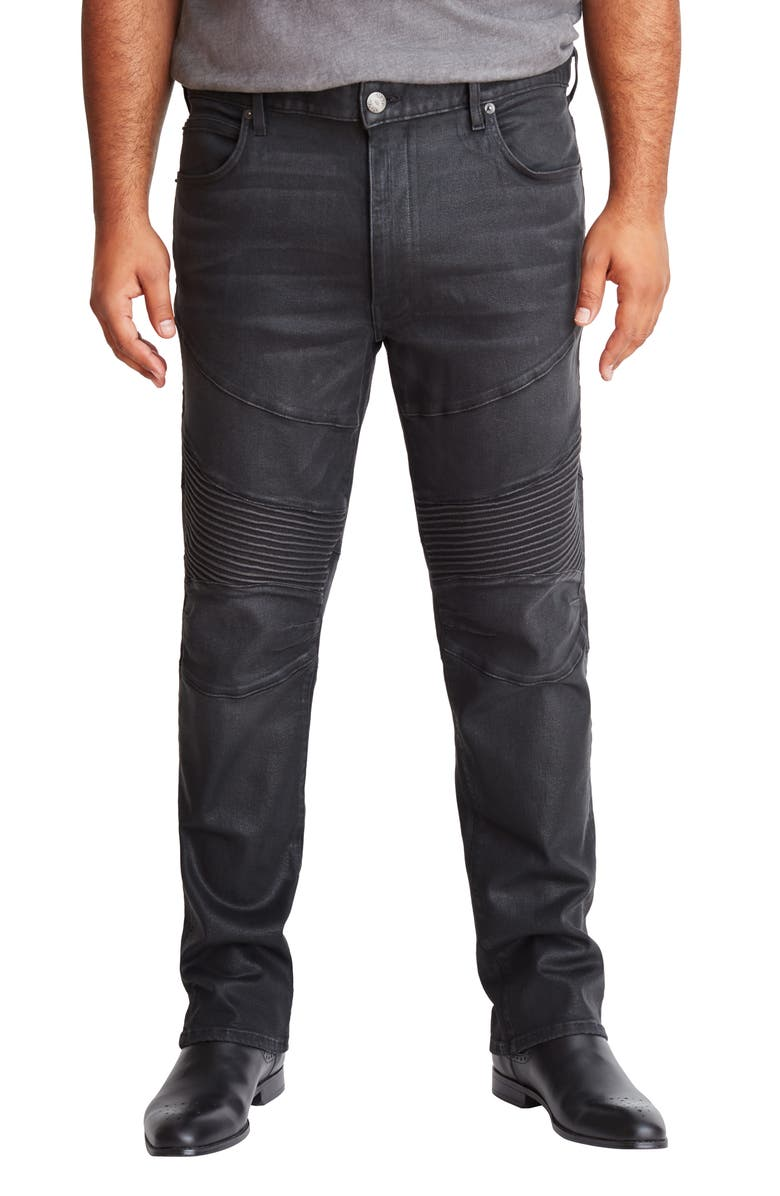 MVP COLLECTIONS Straight Leg Biker Jeans, Main, color, BLACK WAX COATED