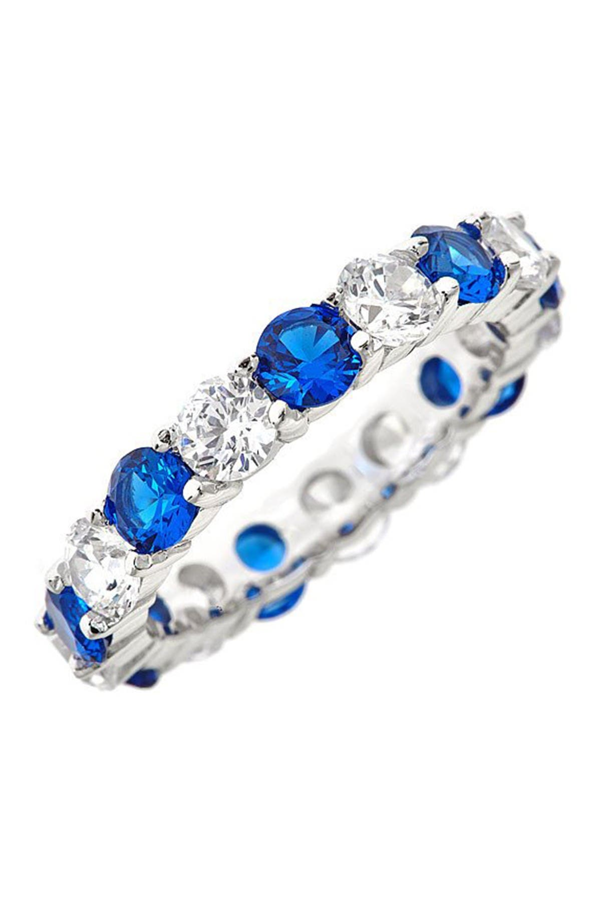 Image of Sterling Forever Sterling Silver Blue Sapphire CZ Eternity Band Ring