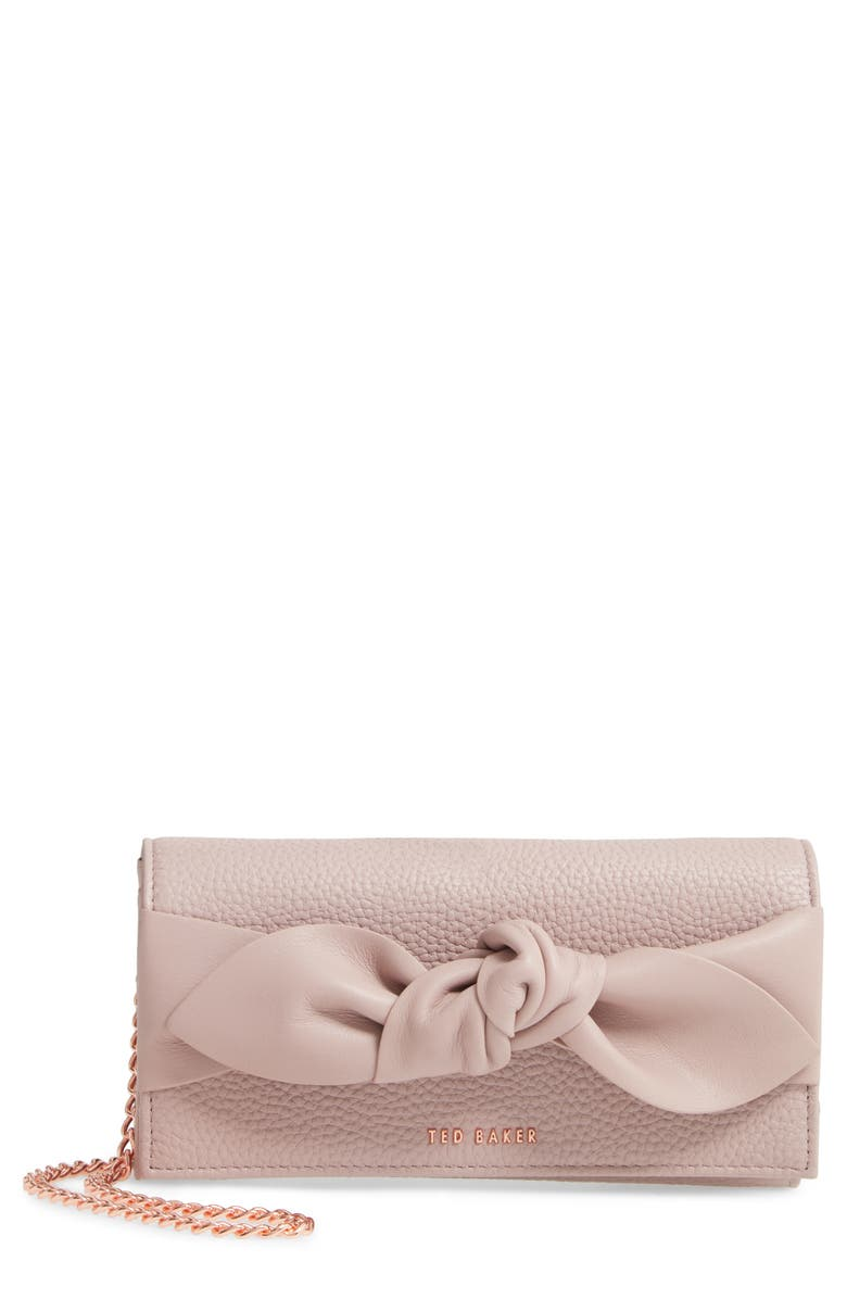 TED BAKER LONDON Knotted Bow Leather Wallet on a Chain, Main, color, 650