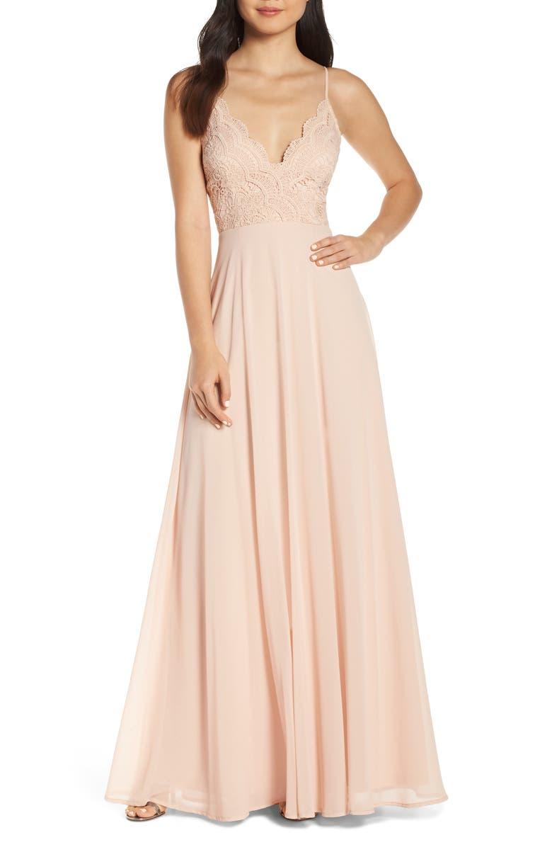 LULUS Madalyn V-Neck Lace & Chiffon Evening Dress, Main, color, BLUSH