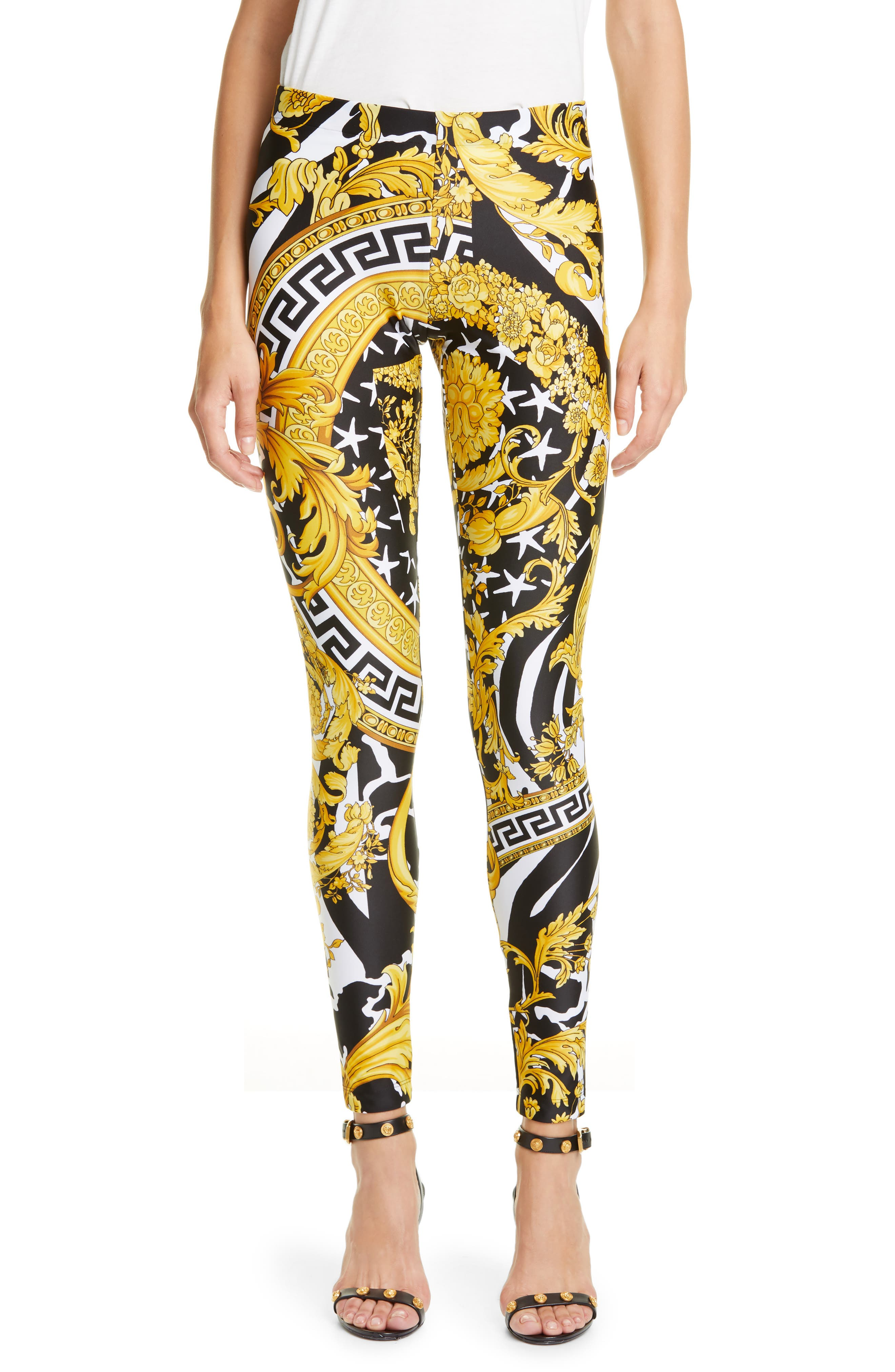 Versace Pants Barocco Print Leggings