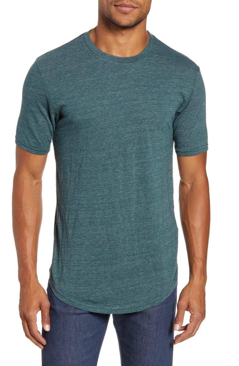 GOODLIFE Scallop Triblend Crewneck T-Shirt, Main, color, JUNGLE GREEN