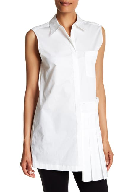 Image of DKNY Sleeveless Collared Side Pleated Blouse