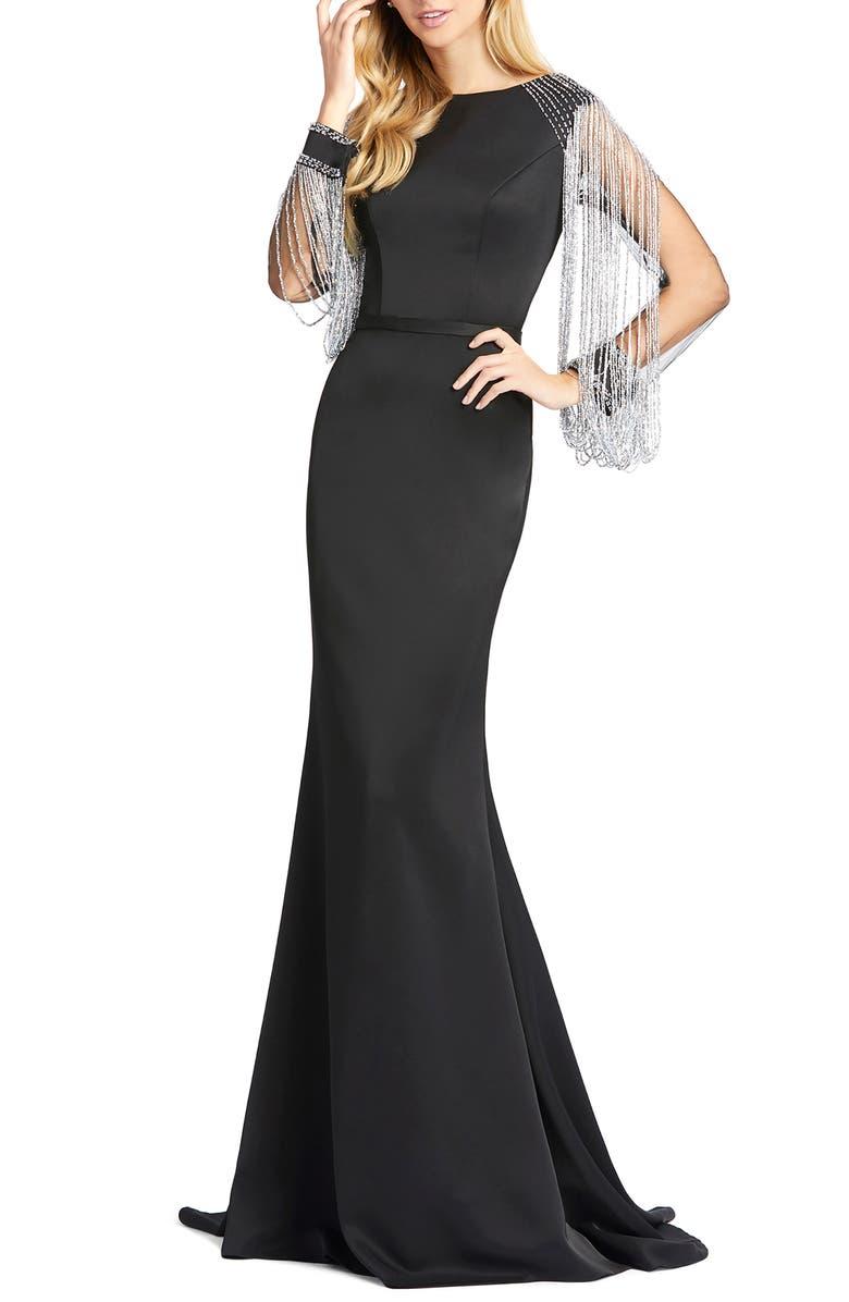 MAC DUGGAL Fringe Sleeve Trumpet Gown, Main, color, BLACK