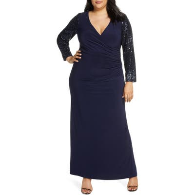 Plus Size Eliza J Sequin Long Sleeve Ruched Gown, Blue