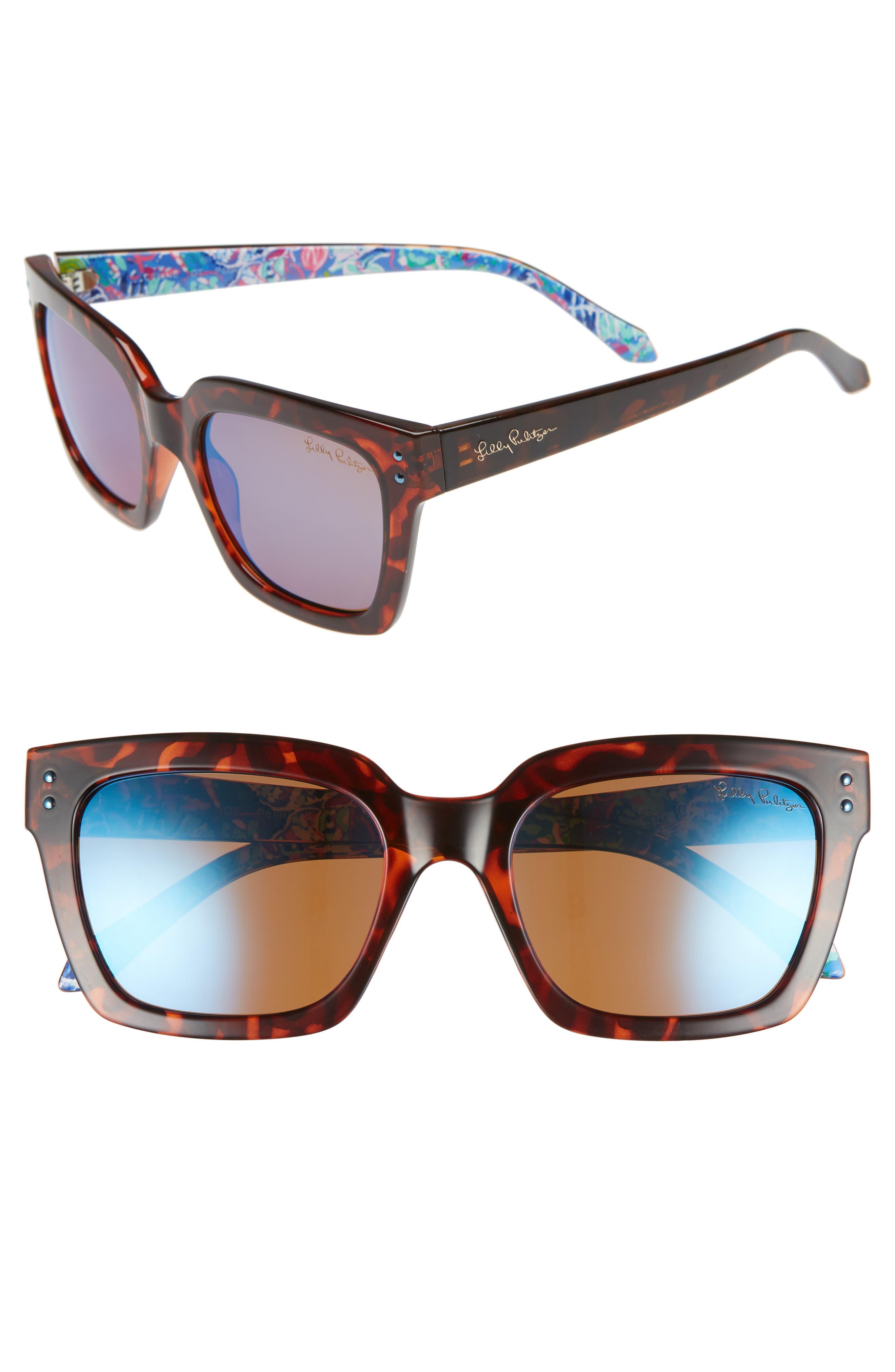 Lilly Pulitzer Celine 5m Polarized Square Sunglasses - Dark Tortoise/ Blue Flash