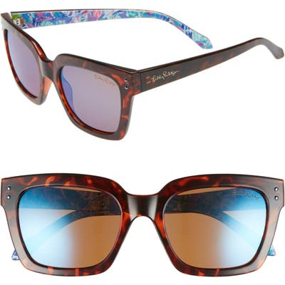 Lilly Pulitzer Celine 5m Polarized Square Sunglasses - Dark Tortoise/ Blue Flash
